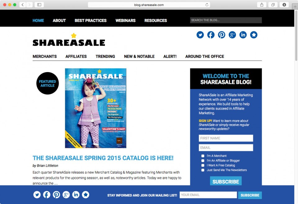 ShareASale Blog website